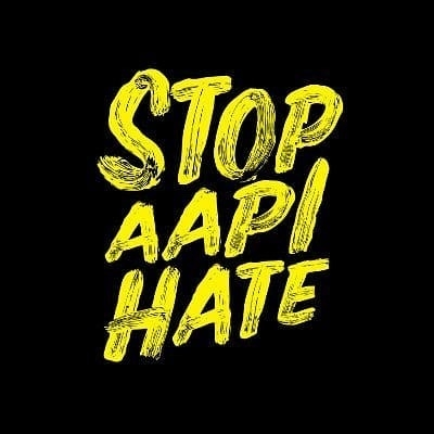 Image: The words Stop AAPI Hate in yellow lettering on a black background that is the logo for the website www.stopaapihate.org.
